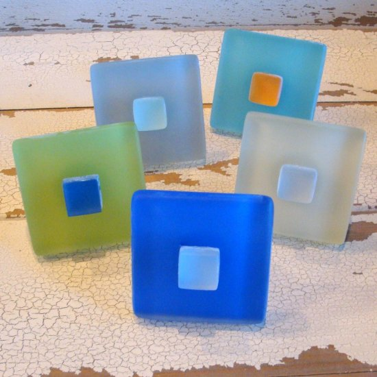 Beach Glass Tile Cabinet Knob, Drawer Pull Short Hardware