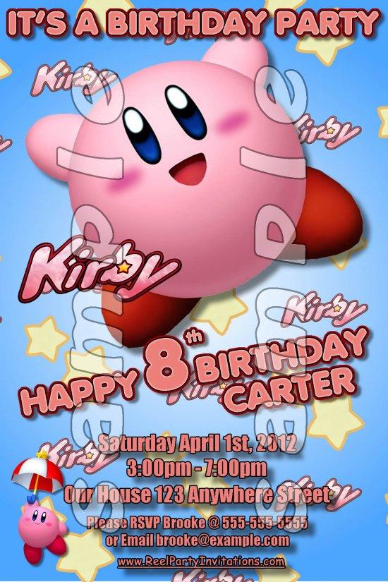 Kirby Personalized 4x6 Birthday Party Invitations