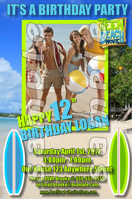 Teen Beach Movie Personalized 4x6 Birthday Party Invitations - Style 2