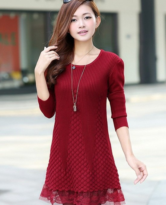 2014new spring fahsion women long sweater lace hem dress puff sleeve pullover long knitswear knit blouses/shirt outwear
