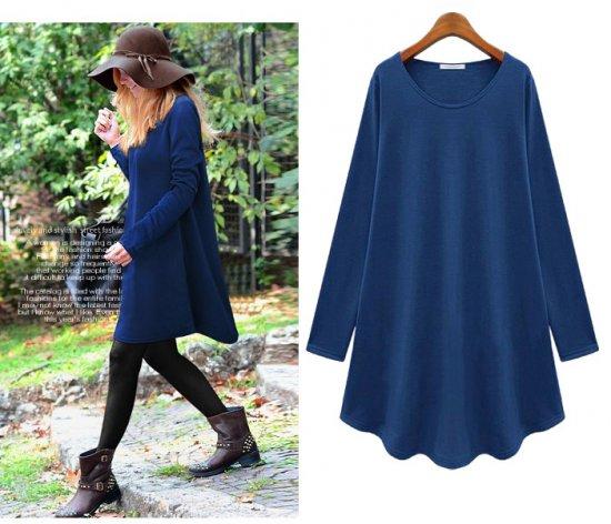 2014 New spring/autumn casual dress women loose fit long t shirt knit sweatshirt girl knit dress plus size knit blouses