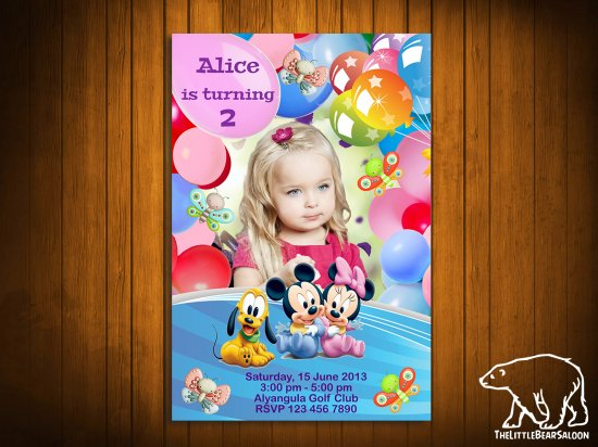 Minnie Mouse and Baloons Frame Birthday Invitation - Disney Animals - Printable, DIY