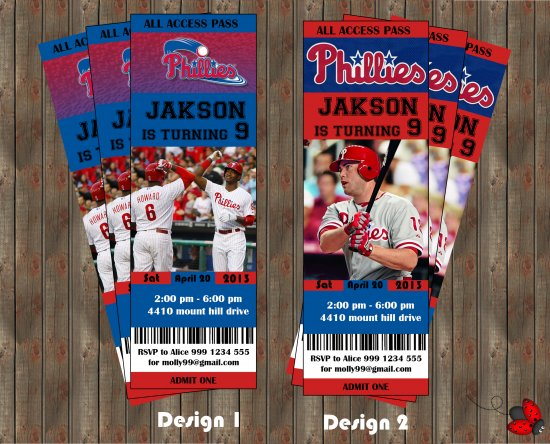 Philadelphia Phillies - Phillies Baseball  Party  Invitation - for Birthday, Baby Shower, Save the Date - Print