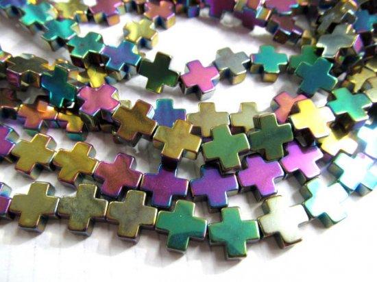 5strands 10x10mm wholesale  hematite beads cross mystic rainbow connector bead