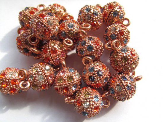 wholesale  round margnetic clasp rose gold mixed with rainbow rhinestone connectors 12-13mm  25pcs
