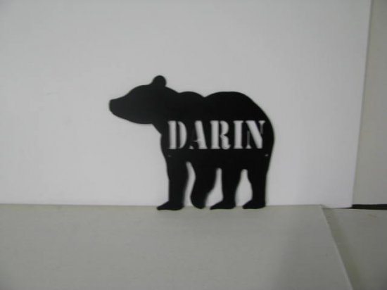 Bear 001 with Name Metal Wall Yard Art Silhouette Set of (2)
