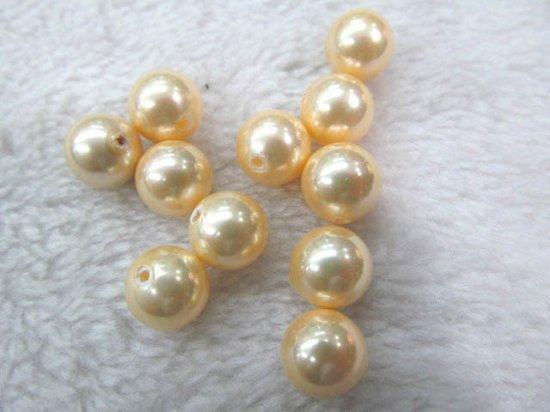 8-12mm 24pcs handmade genuine pearl round ball freshwater gold yellow  assortment jewelry beads --half drilled