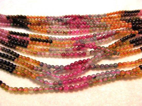 AA+ 4mm full strand genuine rainbow tourmarine gemstone  round all watermelon jewelry beads DIY