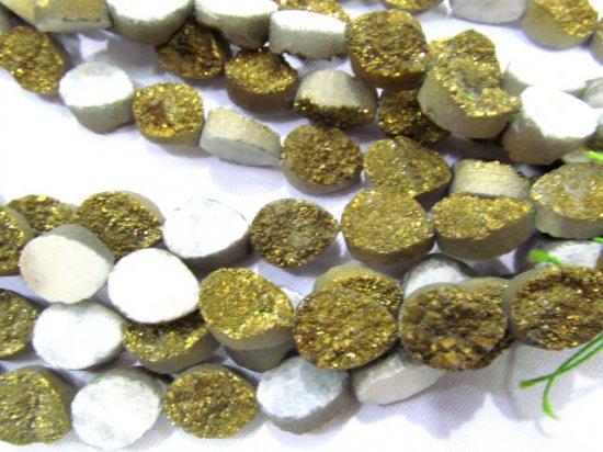 wholesale 10x14mm 20pcs  Calibrated Druzy quartz teadrop drop peach  golden gold assortment  jewelry  charm bead