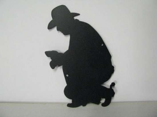Cowboy Camp Fire 006 Metal Art Silhouette