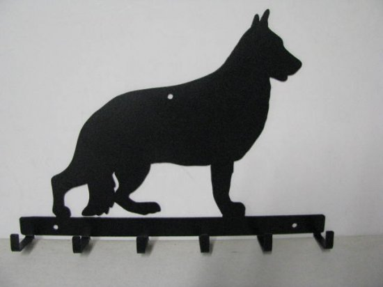 German Shepherd 007 Silhouette Key/Leash Holder Metal Wall Yard Art