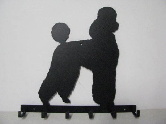 Poodle 011 Silhouette Key/Leash Holder Metal Wall Yard Art