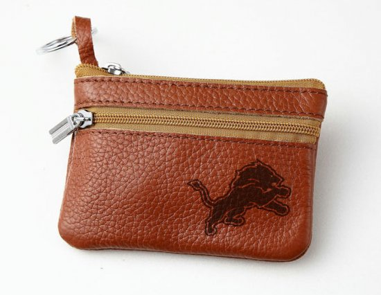Detroit Lions Leather Zippered Coin Bag Key Pouch