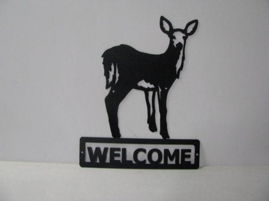 Deer 065 Standing Welcome Sign Wildlife Metal Art