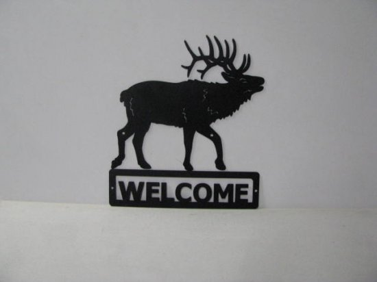 Elk 0007 Walking Welcome Sign Wall Art