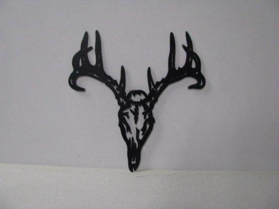 Tribal Deer 001A Large Wildlife Head Metal Art Silhouette