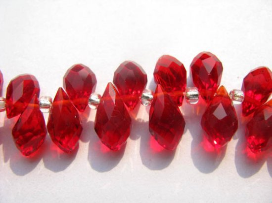 high quality  6x12mm full strand  crystal like swarovski drop onion faceted carmine red assortment jewelry beads