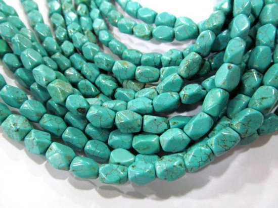 high quality bulk 6x 8mm  turquoise gemstone brick rectangle faceted  green blue  mixed jewelry beads --10strands 16inch/L