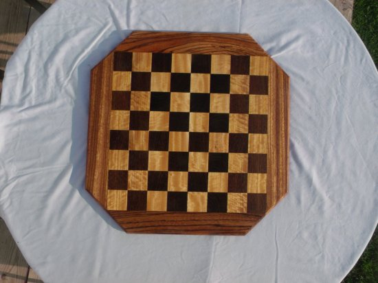 Handmade solid wood chessboard--wenge, movingui, and zebra wood