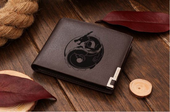 Yin Yang Dragons Leather Wallet