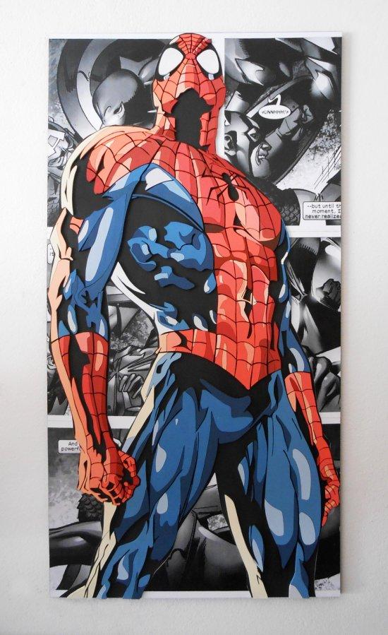 Handmade Spider-Man wall hanging, Spider-Man wood wall art