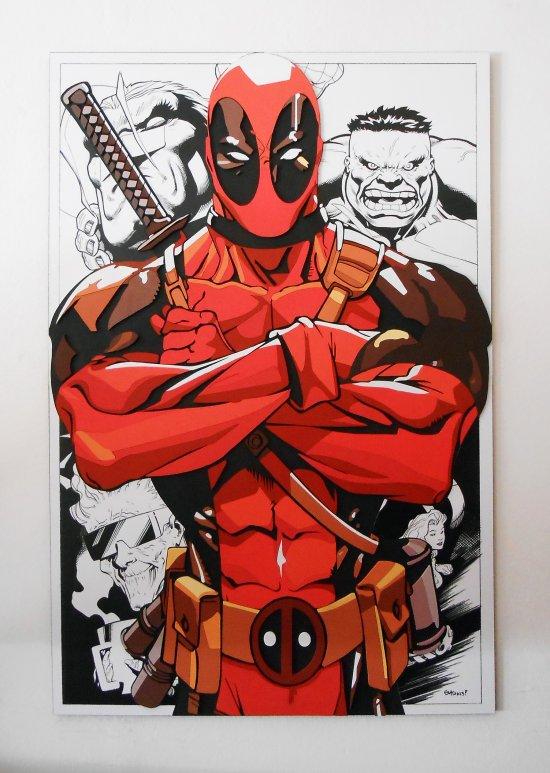 Handmade Deadpool wall hanging, Deadpool wood wall art