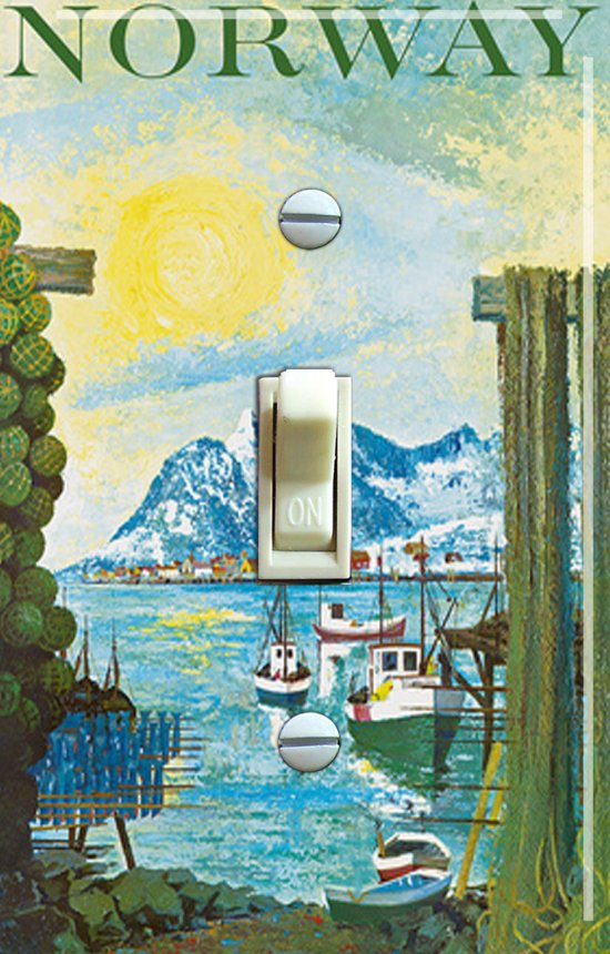 NORWAY Painting Vintage Travel Poster Switch Plate (single)