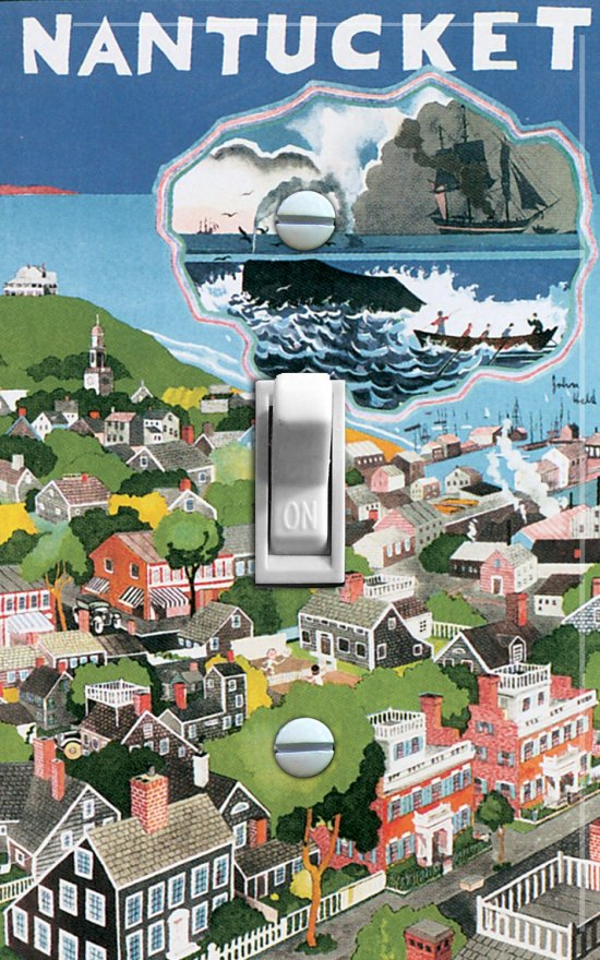NANTUCKET vintage poster Switch Plate (single)