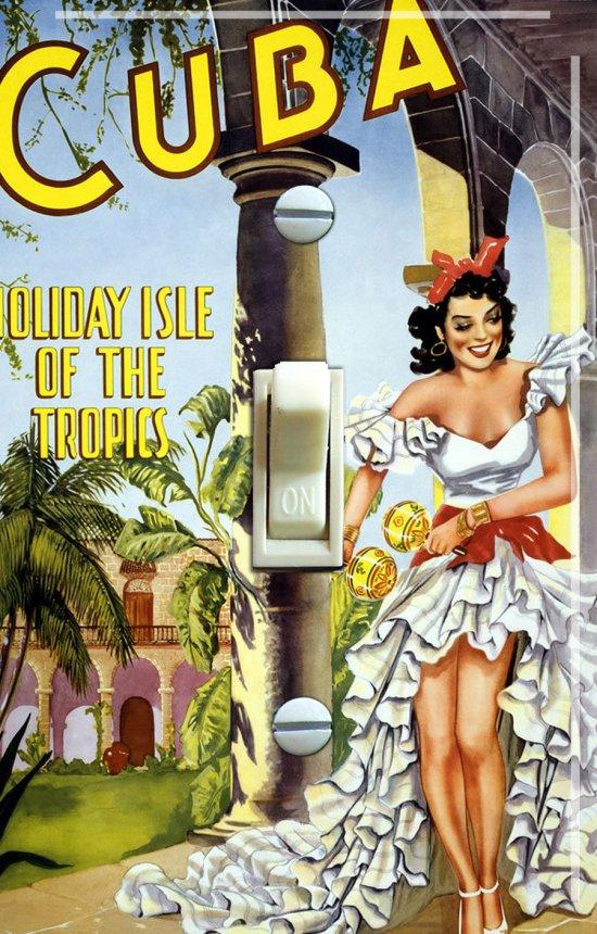 CUBA FLAMENCO Vintage Travel Poster Switch Plate (single)