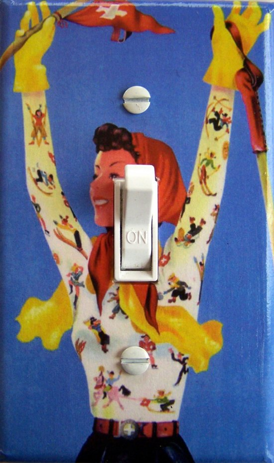 SWISS GAL Vintage Ski Poster Switch Plate (single)