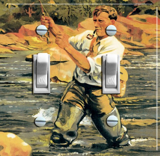 Fly FISH TRUCKEE Vintage Poster Switch Plate (double)