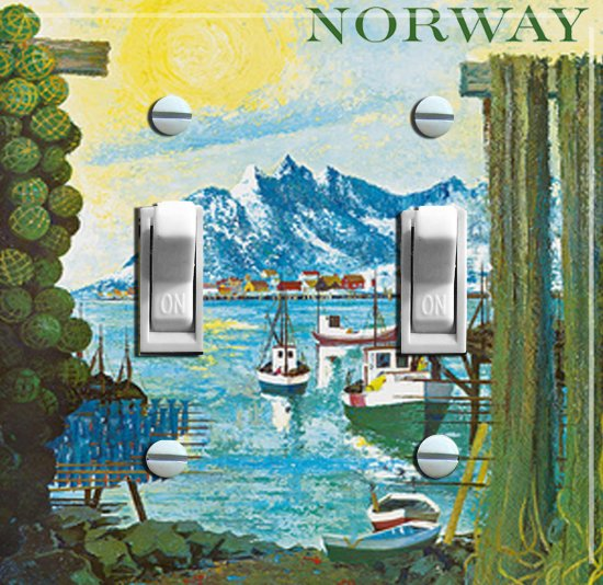 NORWAY Painting Vintage Travel Poster Switch Plate Double