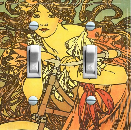 MUCHA CYCLE vintage poster Switch Plate (double)
