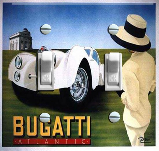 Vintage Bugatti Switch Plate (Double)