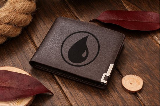 MTG Magic Blue Mana Symbol Leather Wallet