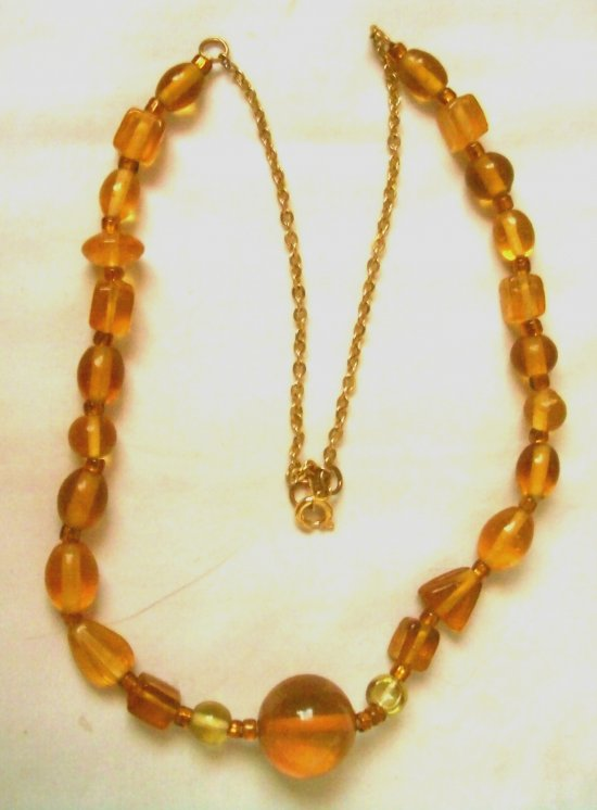 Citrine #Necklace with Amber Color Glass and Seed Beads 20 Inches Long