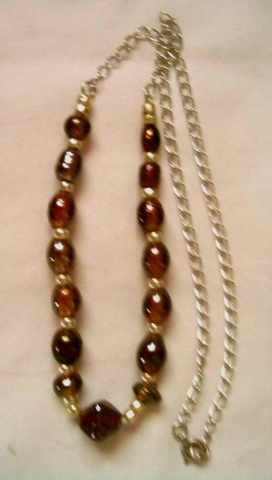 Foil Lined Glass Bead Necklace W/ Pearlized Spacer Beads, Silver Tone Chain 19""