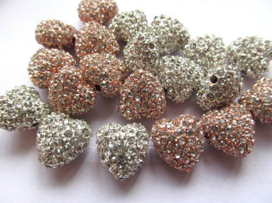 25%off--Micro pave bling heart teardrop spacer  bead Silver Rose gold for making jewelry Finding 12pcs 12mm