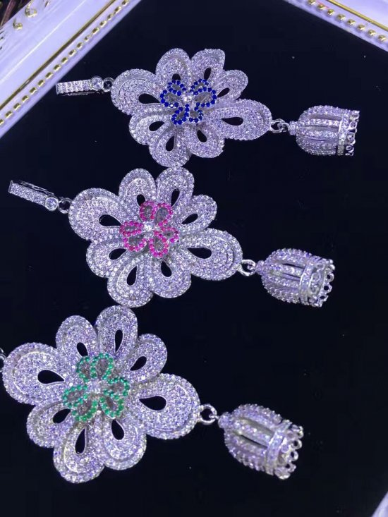 2pcs 60-80mm Link Connector CZ Micro Pave Diamond paved Clasps Jewelry findings Micro Pave fluorial  dragon oval crown Brass  connector