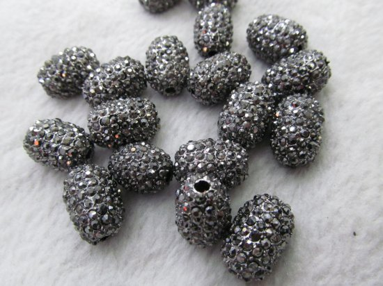 high quality 50pcs 13x18mm Pave Micro Rhinestone Brass  Crystal Connector ,Rice Drum Hematite Gunmetal jewelry Finding