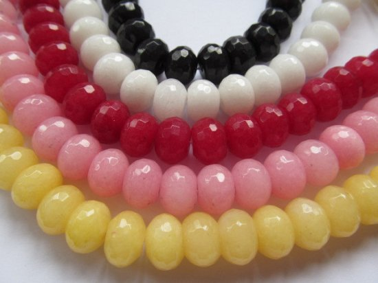 Free Ship--2strands 2x4-10x16mm Jade Rondelle Abacus Faceted Beads Ruby Lemon Green Blue Black Pink Red Jewelry Making Supplies Beads