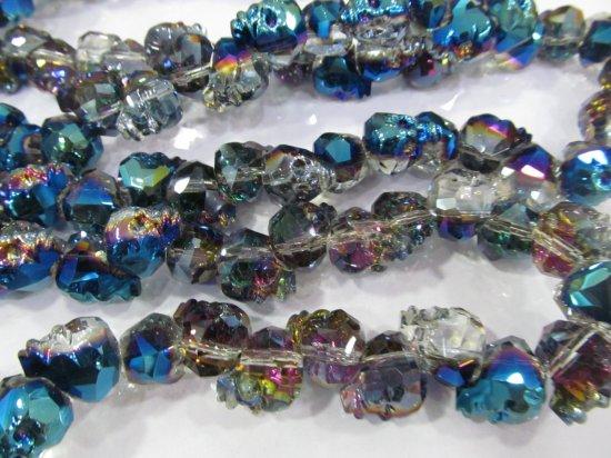 Handmade 50pcs 15mm  Crystal bead Crystal like Swarovski  skull skeleton carved black jet mixed charm jewelry Beads
