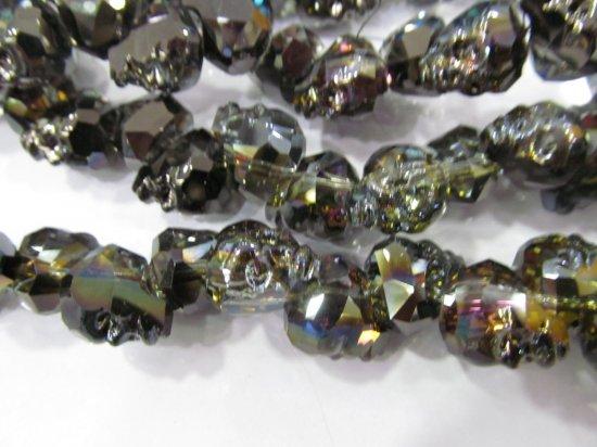 Handmade 15 25mm full strand  Crystal bead Crystal like Swarovski  skull skeleton rainbow black loose beads