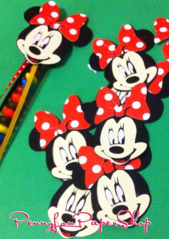 12 Minnie Mouse Icons Cutouts Cupcake toppers Favors Birthday - Cutouts only