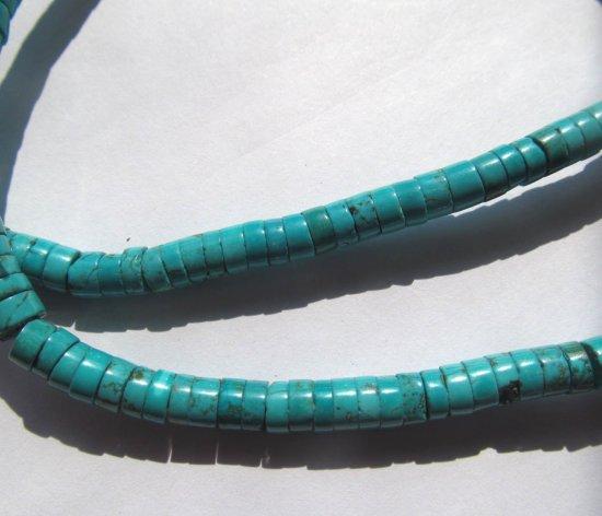 2strands 4-12mm Turquoise Stone  Heishi Pinwheel Blue  turquoise Gemstone Heishi Assorted Bead Necklace