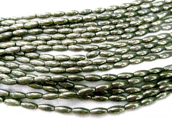Wholesale 2strands 8-14mm  Natural Pyrite Beads Barrel Rice Gold  Iron Pyrite Stone