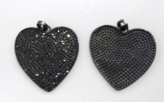 Top Quality 6pcs 30mm Micro Pave Diamond Heart Pendant, Pave Black Diamond CZ Pendant,  Heart Charm,Heart Ring Jet Gunmetal beads