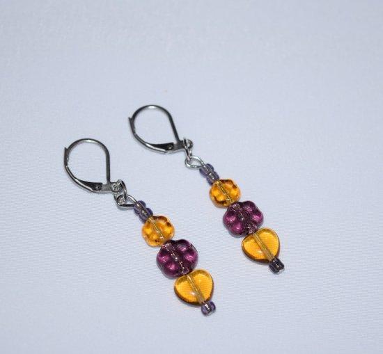 Handmade purple & honey earrings, Czech glass flowers, heart & seed beads