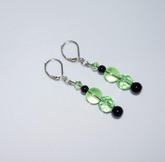 Handmade green earrings, green and black glass beads