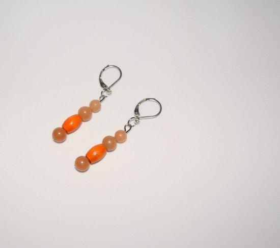 Handmade orange earrings, aventurine and vintage orange wood beads